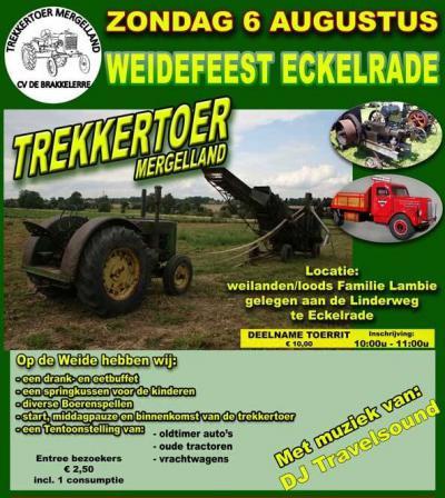 Vaak gekopieerd maar nooit geëvenaard: op de eerste zo. van augustus organiseert CV De Brakkelerre uit Eckelrade al sinds 1990 de Trekkertoer Mergelland, met meer dan 100 oude tractoren van merken als Porsche, Deutz, Lanz, McCormick, John Deere en Ford.