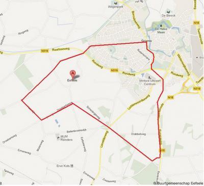 Kaart van het werkgebied van de Buurtgemeenschap Eefsele. Vermoedelijk is dit vanouds het grondgebied van de buurtschap. Geografisch gezien is het buurtschap-gedeelte alleen het deel dat nog buiten de bebouwde kom (van Groenlo) ligt.