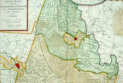 Kaart van Eemland (= het groene deel, plus Amersfoort in het centrum ervan) anno ca. 1755, uitgegeven door Isaak Tirion. De geografische streek Eemland loopt van Eemnes in het NW tot Renswoude in het ZO.