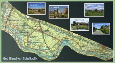 Kaart van het Eiland van Schalkwijk, met foto's van de mooie landelijke dorpjes en buurtschappen die je daar kunt vinden. (© Jan Dijkstra, Houten)