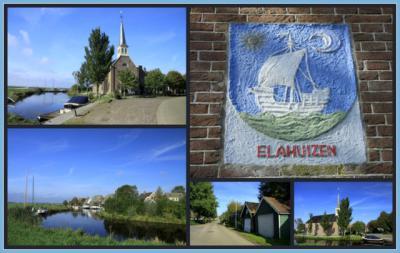 Elahuizen, collage van dorpsgezichten (© Jan Dijkstra, Houten). Vanouds was Elahuizen alleen een buurtschapje bij Nijega in Gaasterland. Omdat er echter meer Nijega's zijn en dat verwarrend was, is dit dorp in 1967 hernoemd in Elahuizen. Vandaar.