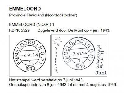 De kern Emmeloord werd voorafgegaan door diverse 'werkkampen', waaronder het op 4-6-1943 gestichte Kamp Emmeloord II, dat een postkantoor kreeg, met dit stempel. Het eerste huis in de woonkern en latere stad Emmeloord is betrokken op 15-12-1943.