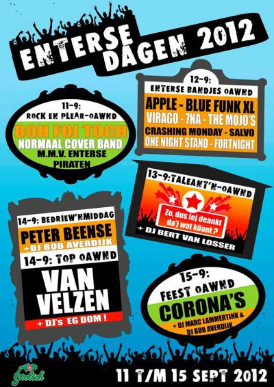Ook de muziekliefhebbers worden op de Enterse Dagen op hun wenken bediend met héél veel live muziek van uiteenlopende aard.