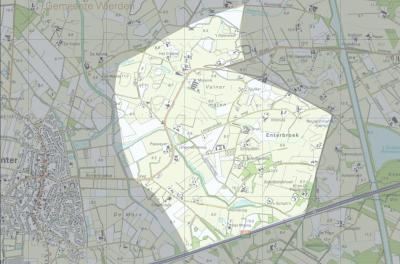 Plattegrond van de Enterse buurtschap Enterbroek. (bron: Dorpsplan Enterbroek / Zuidermaten-Bullenaarshoek)