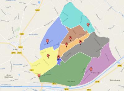 Exel is een klein en onbekend dorp (omdat het voor de postadressen zogenaamd 'in' Laren ligt). Het dorpsgebied omvat de piepkleine dorpskern van Exel, met daaromheen een heeeel groot buitengebied, afgebeeld op deze kaart. (© Belangenvereniging BEO)