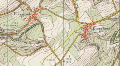Nabij Eyserheide lag een driegemeentenpunt, maar de buurtschap zelf heeft altijd 'maar' onder 2 gemeenten gevallen; het grootste deel is gem. Gulpen-Wittem (voorheen Wittem), een zeer klein deel Voerendaal. Op deze kaart uit ca. 1980 is dat goed te zien.