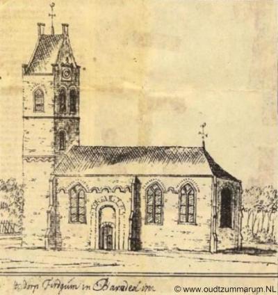 Firdgum, tekening van Stellingwerf van de Nicolaaskerk, 18e eeuw. Van de kerk is sinds 1794 alleen de toren nog over.