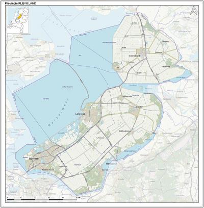 De provincie Flevoland bestaat uit de Noordoostpolder met de gelijknamige gemeente en de gemeente Urk in het N, en de Flevopolder met de gemeenten Almere, Dronten, Lelystad en Zeewolde in het Z. (© Jan-Willem van Aalst)