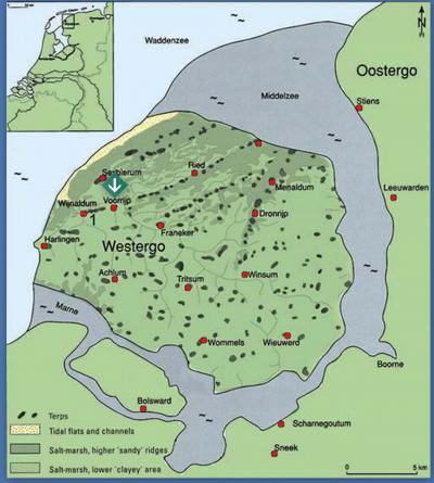Op deze kaart staat de streek Westergo afgebeeld zoals het er in de middeleeuwen uitzag, toen het gebied nog werd omgeven door de waterlopen Middelzee en Marne. Bijzonder is, dat naast een aantal dorpen de buurtschap Voorrijp er ook op vermeld staat.