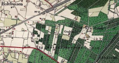 In de jaren twintig van de 20e eeuw besluit de Topografische Dienst (of een andere instantie) om het omliggende huizengroepje tot buurtschap Oost-Vriesland te benoemen (te herkennen aan de afgekorte gemeentenaam 'Dm' onder de plaatsnaam).
