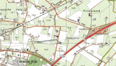 Rond 1990 besluiten de kaartenmakers het voorzetsel Oost- eraf te laten vallen (wellicht om de naam meer in lijn te laten zijn met de in de buurtschap gelegen Frieslandweg). Sindsdien heet de buurtschap dus Friesland. (© van de 4 kaarten: www.kadaster.nl)