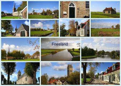 Nog een collage, met enkele van de honderden ieniemienie dorpen die Fryslân rijk is (© Jan Dijkstra, Houten)