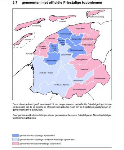 Bij de zes donkerblauw gekleurde gemeenten op de kaart zijn de plaatsnamen officieel Friestalig. In de gemeenten Dantumadiel, Ferwerderadiel en Littenseradiel staat er ook geen Nederlandstalige variant meer op de plaatsnaamborden, bij de overige drie wel.