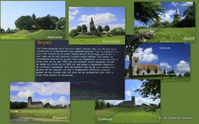 Fryslân is het land van de terpen. Helaas zijn er veel (deels) afgegraven wegens de vruchtbare grond, maar gelukkig zijn er ook nog veel wél bewaard en herkenbaar in het landschap.