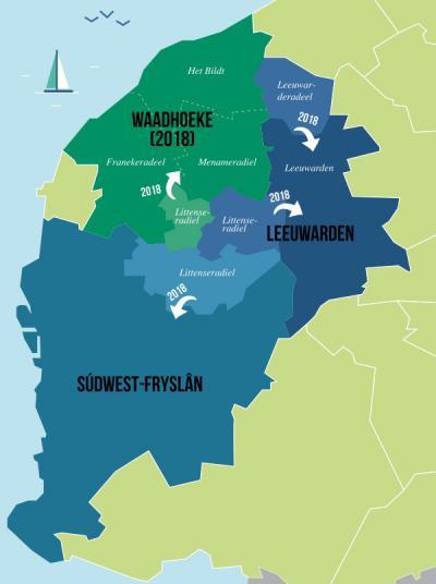 In het westen van Fryslân is per 1-1-2018 flink heringedeeld. Op deze kaart kun je mooi zien hoe de situatie vanaf 2018 is geworden. Littenseradiel is over drie buurgemeenten verdeeld. Waadhoeke is de enige nieuwe gemeente. (© herindeling2018.frl)
