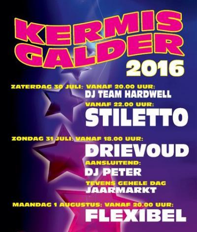 Circa twee maanden na het GFW zijn ze in Galder wel weer toe aan een volgend feestweekend, want dan is er de Kermis Galder, met weer veel livemuziek en op zondag een jaarmarkt.