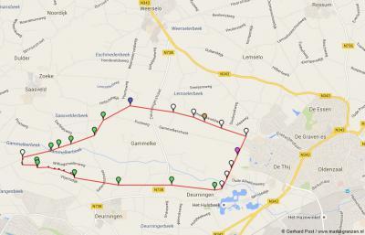 Ligging van de vroegere marke Gammelke tussen Weerselo in het N, Oldenzaal in het O, Deurningen in het Z en Saasveld in het NW.