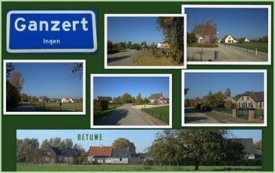 Ganzert, collage buurtschapsgezichten van het deel dat onder het dorp Ingen valt (© Jan Dijkstra, Houten)