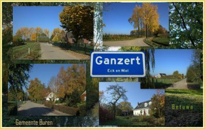 Ganzert, collage buurtschapsgezichten van het deel dat onder het dorp Eck en Wiel valt (© Jan Dijkstra, Houten)