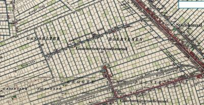 Op deze kaart uit ca. 1900 is goed te zien dat buurtschap Gasselterboerveenschemond naar het gelijknamige, toen nog bestaande, later gedempte zijkanaal ('mond') van het Stadskanaal is genoemd. (© www.kadaster.nl)