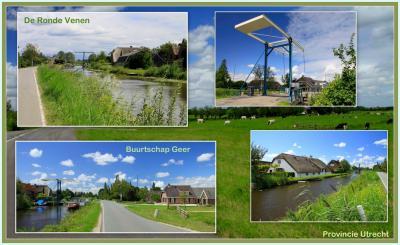 Collage van de zeer landelijke buurtschap Geer in het uiterste Z van het dorpsgebied van Wilnis, met o.a. de ophaalbrug naar buurtschap Spengen. Vanaf de Geerkade alhier kun je diverse mooie wandelroutes door de omgeving lopen. (© Jan Dijkstra, Houten)