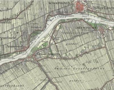Gelkenes, op deze kaart, uit 1898, is goed te zien dat de Polder Gelkenes het gebied tussen Lek, Nieuwpoort, Graafland en Groot-Ammers (inclusief dat dorp) besloeg.