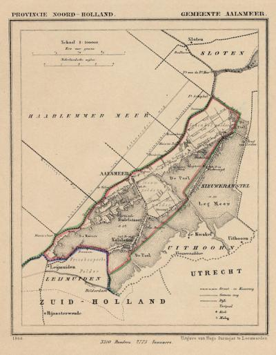 Gemeente Aalsmeer anno ca. 1870, kaart J. Kuijper (collectie www.atlasenkaart.nl)