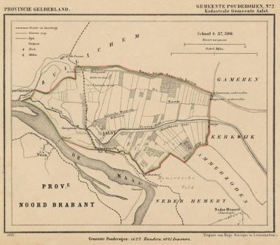 Kaart van de in 1818 opgeheven gemeente Aalst, situatie anno ca. 1870, kaart J. Kuijper (collectie www.atlasenkaart.nl)