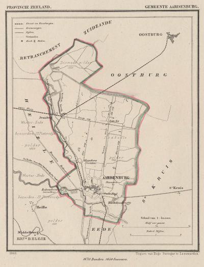 Gemeente Aardenburg anno ca. 1870, kaart J. Kuijper (collectie www.atlasenkaart.nl)