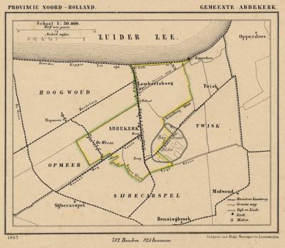 Gemeente Abbekerk anno ca. 1870, kaart J. Kuijper (collectie www.atlasenkaart.nl)