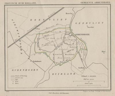 Gemeente Abbenbroek anno ca. 1870, kaart J. Kuijper. De drie polders die in het hoofdstuk Geschiedenis worden besproken, kun je hier goed zien. (collectie www.atlasenkaart.nl)
