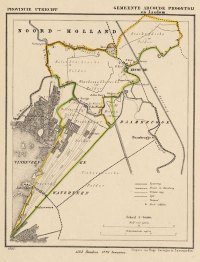 Gemeente Abcoude-Proostdij anno ca. 1870, kaart J. Kuijper (collectie www.atlasenkaart.nl)