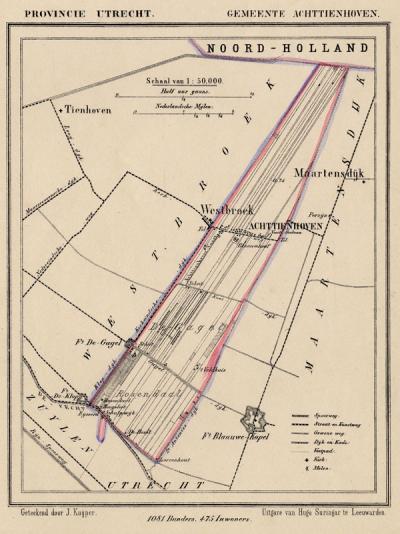 Gemeente Achttienhoven anno ca. 1870, kaart J. Kuijper (collectie www.atlasenkaart.nl)