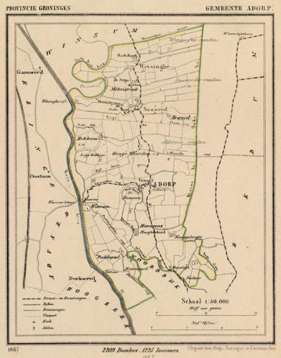 Gemeente Adorp in ca. 1870, kaart J. Kuijper (collectie www.atlasenkaart.nl)