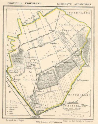 Gemeente Aengwirden anno ca. 1870, kaart J. Kuijper (collectie www.atlasenkaart.nl)