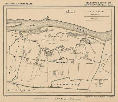 Kaart van de in 1818 opgeheven gemeente Afferden, situatie anno ca. 1870, kaart J. Kuijper