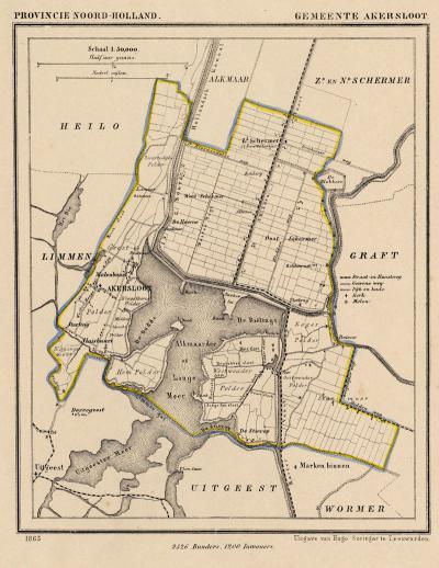 Gemeente Akersloot anno ca. 1870, kaart J. Kuijper (collectie www.atlasenkaart.nl)