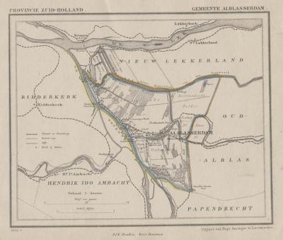Gemeente Alblasserdam anno ca. 1870, kaart J. Kuijper (collectie www.atlasenkaart.nl)