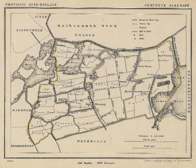 Gemeente Alkemade anno ca. 1870, kaart J. Kuijper (collectie www.atlasenkaart.nl)