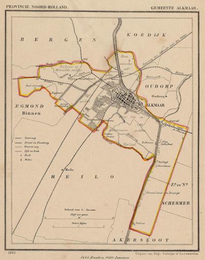 Gemeente Alkmaar anno ca. 1870, kaart J. Kuijper (collectie www.atlasenkaart.nl)