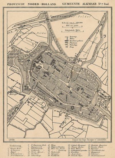 Stad Alkmaar anno ca. 1870, kaart J. Kuijper (collectie atlasenkaart.nl)