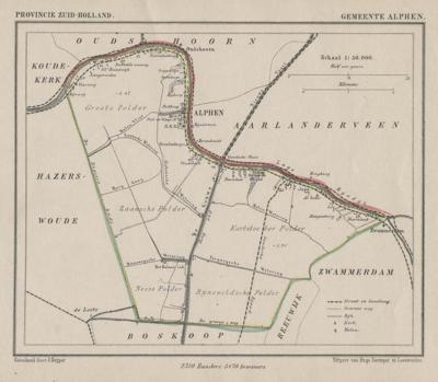 Gemeente Alphen anno ca. 1870, kaart J. Kuijper (collectie www.atlasenkaart.nl)