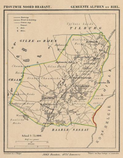 Gemeente Alphen en Riel anno ca. 1870, kaart J. Kuijper (collectie www.atlasenkaart.nl)