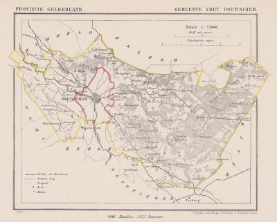 Gemeente Ambt Doetinchem anno ca. 1870, kaart J. Kuijper