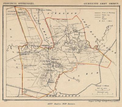 Gemeente Ambt Ommen anno ca. 1870, kaart J. Kuijper (collectie www.atlasenkaart.nl)