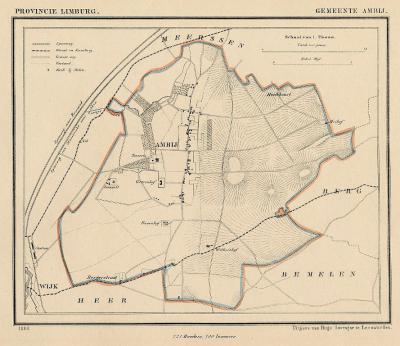 Gemeente Amby anno ca. 1870, kaart J. Kuijper (collectie www.atlasenkaart.nl)
