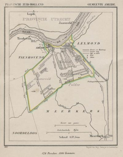 Gemeente Ameide anno ca. 1870, kaart J. Kuijper (collectie www.atlasenkaart.nl)