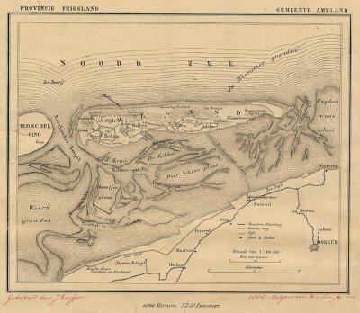 Gemeente Ameland anno ca. 1870, kaart J. Kuijper (collectie www.atlasenkaart.nl)