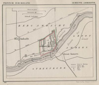 Gemeente Ammerstol anno ca. 1870, kaart J. Kuijper (collectie www.atlasenkaart.nl)
