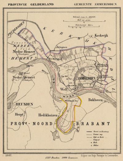 Gemeente Ammerzoden anno ca. 1870, kaart J. Kuijper